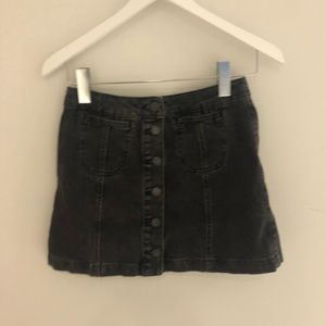 topshop black denim button up skirt